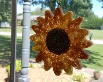 Sunflower SUNCATCHER made from your preserved Wedding or Memorial Flowers  Custom Bridal or Funeral Keepsake Hanging Decorative Sun Catcher