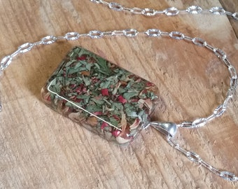 Wedding Memento or Funeral Memorial Keepsake made from your Flower Petals or Pet fur or Cremains - RECTANGLE Pendant or Necklace