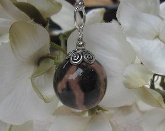Memorial Round Bead Charm - Custom Keepsake Stoneware Pottery Pet Cremains Charm - Pewter Findings
