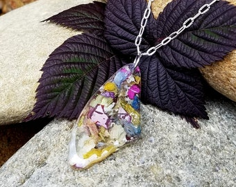 PENDANT Necklace Charm made from your preserved Wedding or Memorial Flowers Pet Cremains Fur  Custom Bridal Funeral Keepsake  Butterfly Wing