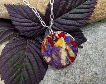 PENDANT Necklace Charm made from your preserved Wedding Memorial Flowers Pet Cremains Fur Custom Bridal  Funeral Keepsake  Contempo Coin