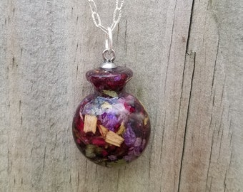 Wedding Memento or Funeral Memorial Keepsake made from your Flower Dried Petals or Pet fur - BOTTLE Pendant or Necklace