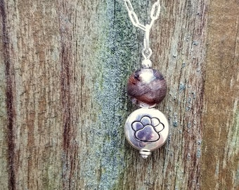 Memorial Keepsake made from your Pet fur or Cremains - THOUGHTFUL PAWS Drop Pendant or Necklace