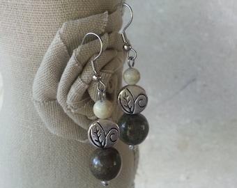 Memorial Bead Earrings - Custom Keepsake Stoneware Pottery Pet Cremains Jewelry - GREENS LEAVES Drop Earrings