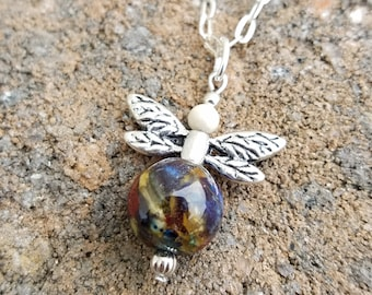 PENDANT Necklace Charm made from your preserved Wedding or Memorial Flowers Pet Cremains or Fur  Custom Bridal or Funeral Keepsake DRAGONFLY