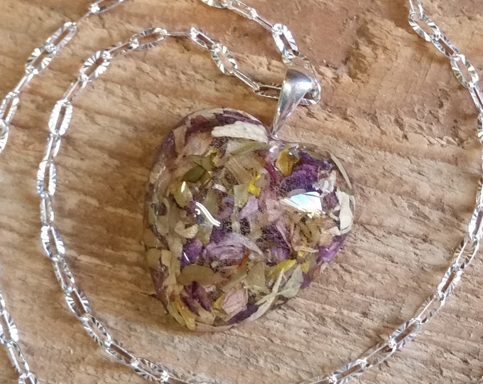 Featured listing image: Wedding Memento or Funeral Memorial Keepsake made from your Flower Petals or Pet fur or Cremains - CLEAR HEART Pendant or Necklace