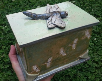 Custom Cremation Urn - Hand-built Stoneware Cremains Box - CHEST w/ Hand-Molded Element