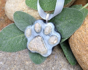 PAW ORNAMENT Memorial Pet Keepsake made from your your Dried Flowers, Pet's fur or Cremains - SMALL