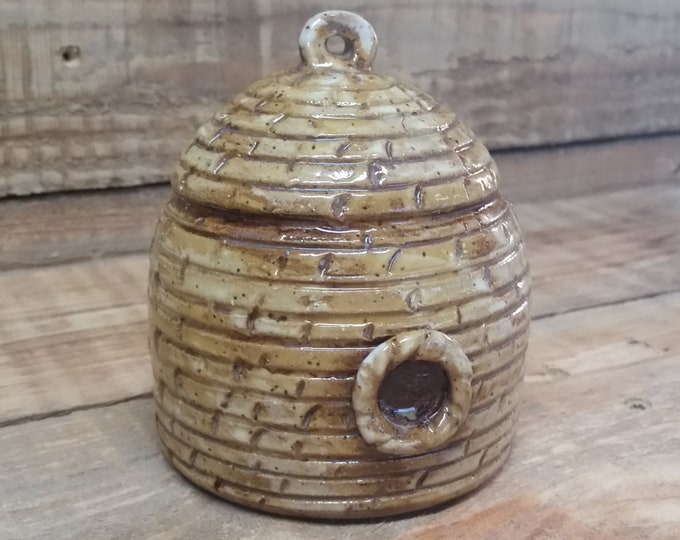 Featured listing image: Custom Cremation Urn - Stoneware Cremains Jar - BEEHIVE