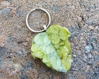 Wedding Memento or Funeral Memorial Keepsake made from your Dried Flower Petals or Pet fur  - Buxom BIRCH Leaf KEY RING