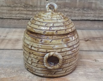 Cremation Urn - Stoneware Cremains Jar - READY to SHIP - BEEHIVE - Up to 18 lbs