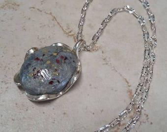 Custom Wedding Memento or Funeral Memorial Keepsake made from your Flower Petals or Pet fur or Cremains - OVAL WAVE Pendant or Necklace