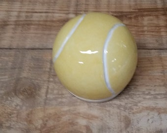 Cremation Urn - Stoneware Cremains Jar - READY to SHIP - Tennis Ball -Up to 27 lbs