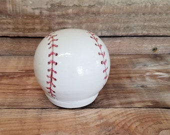 Custom Cremation Urn - Stoneware Cremains Jar - BASEBALL or SOFTBALL