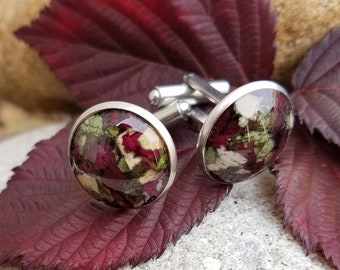 CUFFLINKS made from your preserved Wedding or Memorial Flowers Pet Cremains or Fur Custom Bridal or Funeral Keepsake - Stainless Steel