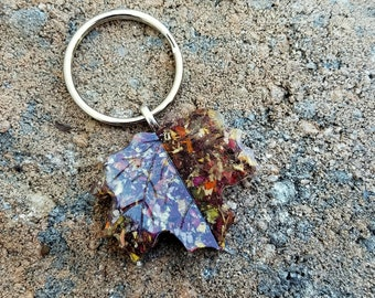 Wedding Memento or Funeral Memorial Keepsake made from your Dried Flower Petals or Pet fur  - Buxom MAPLE Leaf KEY RING