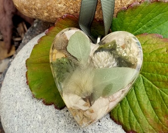 Ornament made from your preserved Wedding or Memorial Flowers or Pet Cremains or Fur Custom Bridal or Funeral Keepsake HEART