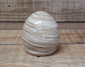 Cremation Urn - Stoneware Cremains Jar - READY to SHIP - EGG - Up to 16 lbs