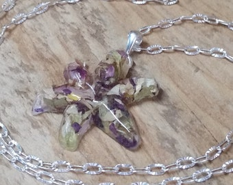 Wedding Memento or Funeral Memorial Keepsake made from your Dried Flower Petals or Pet fur - LILY Pendant or Necklace
