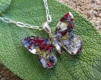 PENDANT Necklace made from your preserved Wedding or Memorial Flowers or Pet Cremains or Fur  Custom Bridal or Funeral Keepsake   BUTTERFLY