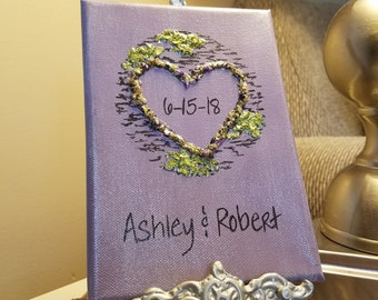 3D Canvas Flower Keepsake - made from your preserved Wedding or Memorial Petals  Custom Bridal or Funeral Wall Art -  CARVED TREE HEART