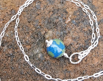 Wedding Memento or Funeral Memorial Keepsake made from your Flower Petals or Pet fur or Cremains - ROUND BEAD EARTH Pendant or Necklace