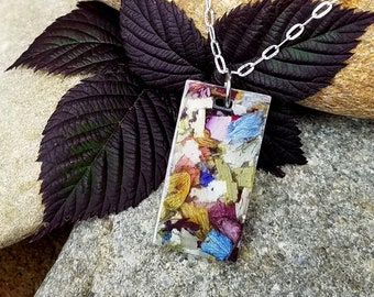 PENDANT Necklace Charm made from your preserved Wedding Memorial Flowers Pet Cremains Fur Custom Bridal  Funeral Keepsake Contempo Rectangle