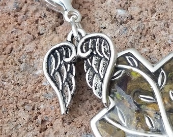 Small Pewter Angel Wings Pendant to be added to your Custom Memorial Pendant or Accessory