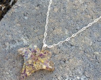 Wedding Memento or Funeral Memorial Keepsake made from your Flower Petals or Pet fur or Cremains - CLEAR IVY LEAF Pendant or Necklace