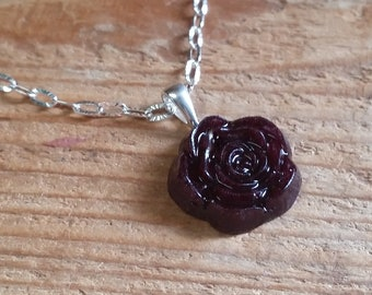 Wedding Memento or Funeral Memorial Keepsake made from your Flower Petals or Pet fur or Cremains - Small ROSE Pendant or Necklace
