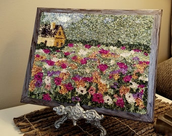Custom Handmade Wedding Funeral Memorial Keepsake made from your Dried Flower Petals - Flower Flake Painting Canvas Wall Art -DISTANT CABIN