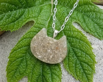 CAT PENDANT or Necklace made from your Pet Cremains or Fur  Custom Keepsake