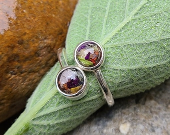 STERLING SILVER Cabochon Ring made from your preserved Wedding Memorial Flowers or Pet Cremains Fur Custom Bridal Funeral Keepsake - HEATHER