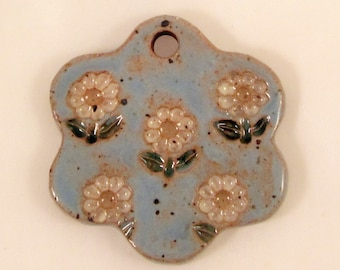Large Glazed Pottery Pet Cremains Motif Pendant or Ornament - Custom Memorial Pet Cremation Keepsake -  GARDEN OF DAISIES