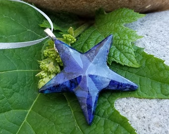 Ornament made from your preserved Wedding or Memorial Flowers or Pet Cremains or Fur Custom Bridal or Funeral Keepsake - STAR