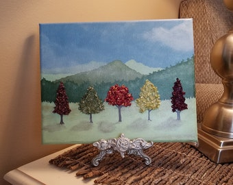 3D Canvas Flower Keepsake - made from your preserved Wedding or Memorial Petals  Custom Bridal or Funeral Wall Art -  TREE LINE
