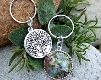 KEY RING made from your preserved Wedding or Memorial Flowers Pet Cremains or Fur Custom Bridal or Funeral Keepsake - Dbl Sided Tree of Life