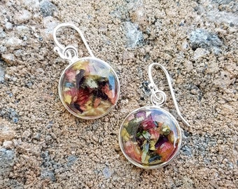 Custom Wedding Memento or Memorial Keepsake made from your Dried Flower Petals or Pet fur - Round SPARTAN EARRINGS