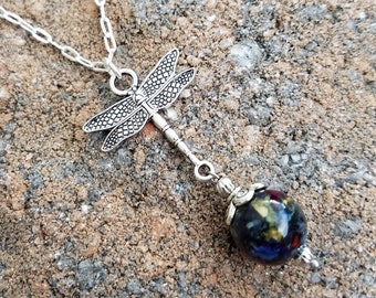 PENDANT Necklace Charm made from your preserved Wedding or Memorial Flowers or Pet Cremains Fur  Custom Bridal or Funeral Keepsake DRAGONFLY