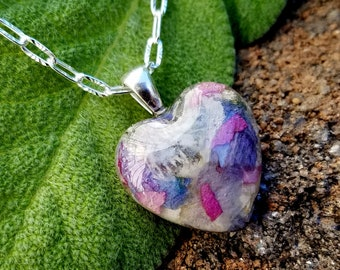 PENDANT Necklace Charm made from your preserved Wedding or Memorial Flowers or Pet Cremains or Fur  Custom Bridal or Funeral Keepsake  HEART