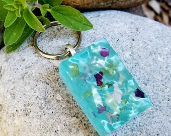 KEY RING made from your preserved Wedding or Memorial Flowers Pet Cremains or Fur Custom Bridal or Funeral Keepsake - Water Block