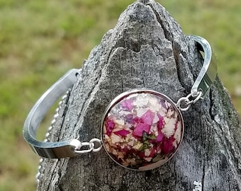 BRACELET made from your preserved Wedding or Memorial Flowers Pet Cremains or Fur Custom Bridal or Funeral Keepsake  COVE