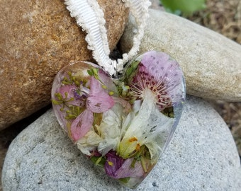 HEART ORNAMENT made from your preserved Wedding or Memorial Flowers Pet Cremains or Fur Custom Bridal or Funeral Keepsake