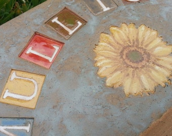 Custom - Pottery Pottery Garden Stone or Burial Grave Marker - Stoneware Clay - For Pet Memorial -  Beveled Rectangle Plaque
