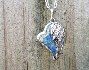 PENDANT Necklace Charm made from your preserved Wedding Memorial Flowers Pet Cremains or Fur  Custom Bridal or Funeral Keepsake  ANGEL HEART