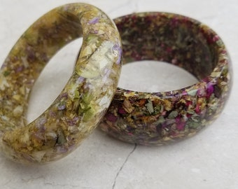Custom Wedding Memento or Memorial Keepsake made from your Dried Flower Petals or Pet fur - CLEAR SMOOTH BANGLE Bracelet