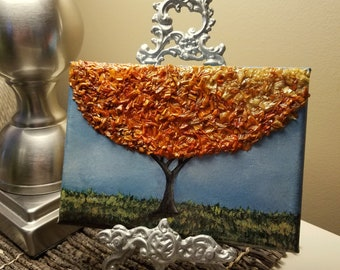 Custom Wedding / Funeral Memento or Memorial Keepsake made from your Flower Petals - 3D Flower Flake & Painting Canvas Wall Art - BROAD TREE