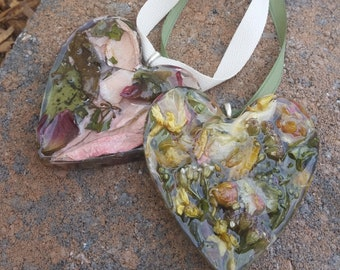 Wedding Memento or Memorial Keepsake Ornament made from your Dried Flower Petals or Pet fur - CLEAR TEXTURED HEART
