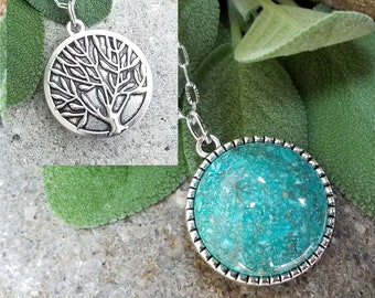 PENDANT Necklace made from your preserved Wedding Memorial Flowers Pet Cremains Fur Custom Bridal Funeral Keepsake Double Sided TREE of LIFE