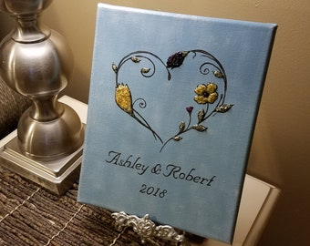3D Canvas Flower Keepsake - made from your preserved Wedding or Memorial Petals  Custom Bridal or Funeral Wall Art -  FILIGREE HEART